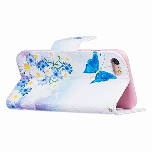 Custodia Apple iphone 7 Cover Case, Ougger Portafoglio PU Pelle Magnetico Stand Morbido Silicone Flip Bumper Protettivo Gomma Shell Borsa Custodie con Slot per Schede Moda Style 16