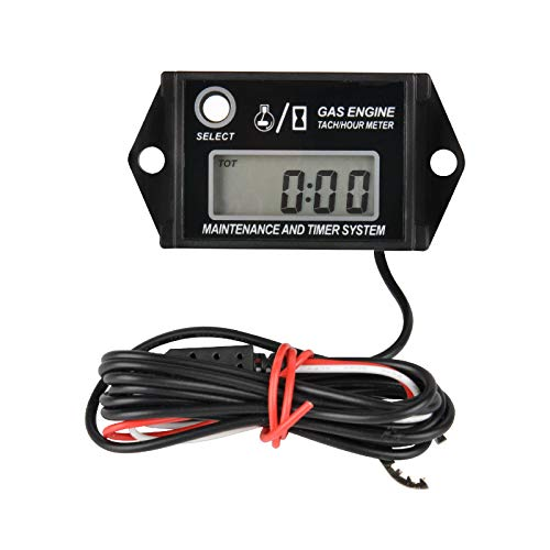 Orange 2//4 Stroke Jayron Tach Hour Meter Digital LCD Inductive Tachometer No Battery Powerful Timing RPM Measuring Waterproof Design,for Gas Engine Lawn Mower Motorcycle Snowmobile Generator