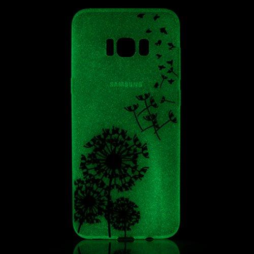 Funda Samsung Galaxy S8 AllDo Carcasa de Silicona Luminoso Brillar en Oscuridad Caja Caucho Translúcido Carcasa Liso Peso Ligero Funda Diseño de Patrones Impresos Caja Suave Flexible Carcasa Resistent Diente de León