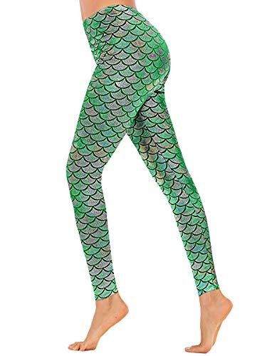 Women Metallic Workout Mermaid Print Scale Leggings Party Costume Magic GreenXL