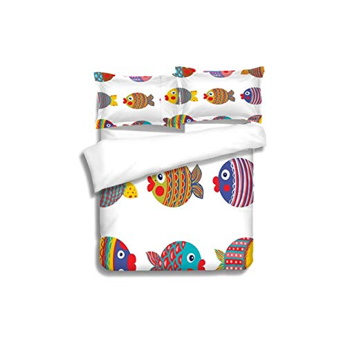 Home 3 Piece Print Quilt Set,Funny Puffers Toadfish Colorful Childish Fish Family with Folk Patterns Children Nursery Multicolor with 2 Pillowcase for Kids Bedding