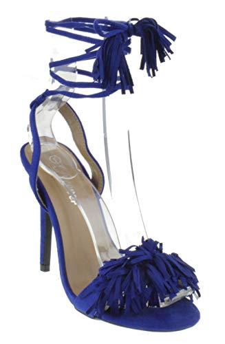 Rubina 57 Womens Fringe Open Toe High Heel Sandals Royal Blue 10 - Tall Fringe