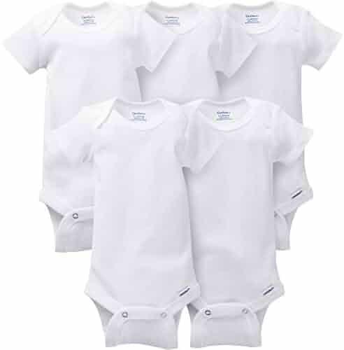 Gerber Unisex Baby 5-Pack Short-Sleeve White Onesies