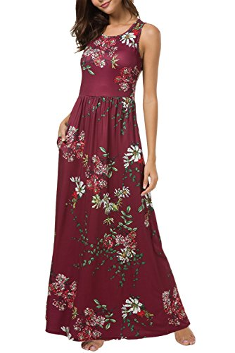 Zattcas Maxi Dresses for Women,Womens Crew Neck Sleeveless Summer Floral Maxi Dress with Pockets (Small, ()