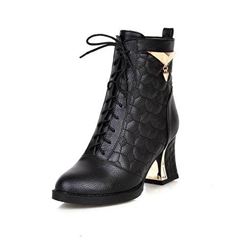 AgooLar Damen Hoher Absatz Weiches Material Niedrig-Spitze Rein Schnüren Stiefel Schwarz