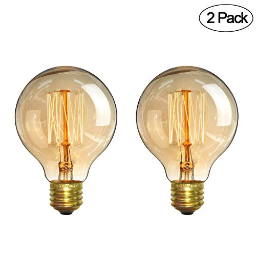 Vintage Edison Bulbs,Elfeland 60W Antique Retro Incandescent Dimmable Light Bulb Squirrel Cage Filament Light Bulb Dimmable for Home Light E26/E27 Base G80 110V (2 Pack) by Elfeland