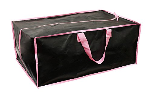 Earthwise Extra Large Reusable Storage Bags Totes Container Backpack Handles w/Zipper closure in Matte Black with Pink Trim Great for MOVING, Compatible with IKEA Frakta Carts (SET OF 4) by Earthwise (Image #1)