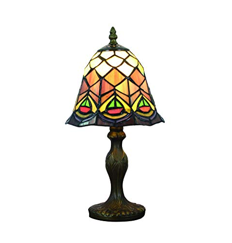FBOSS Tiffany Style Handcrafted Peacock Tail Feather 8 Inch Stained Glass Table Lamp