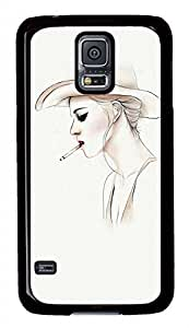 Smoking Girl PC Black Hard Case Cover Skin For Samsung Galaxy S5 I9600