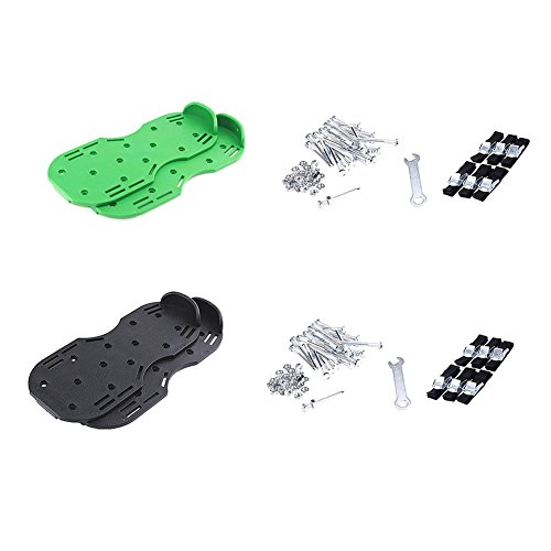 Luerme Lawn Aerator Shoes Zinc Alloy Buckles and Adjustable Straps Heavy Duty Spiked Sandals Gardening Shoes for Aerating Your Lawn or Yard One Size Fits All (6 Straps, Black) by Luerme (Image #4)