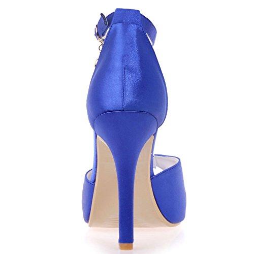 Loslandifen Mujeres Elegantes Peep Toe Correa De Tobillo Plataforma De Tacón Alto Nupcial Boda Bombas Blue-a