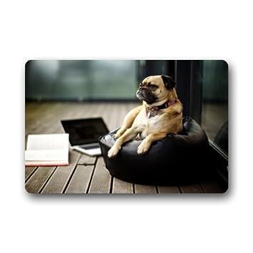23 6 L X15 7 W 3 16 Think Pug Dog Door Mat Durable Heat