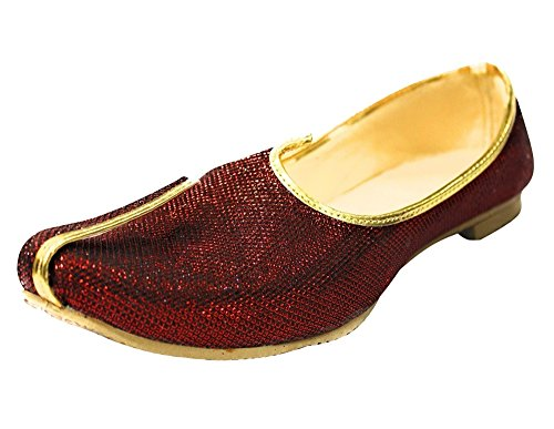 (Step n Style Mehroon Glitter Traditional Handmade Sherwani Groom Khussa Jutti Men mojaries Loafers for Mens)