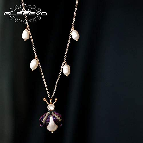 Length: 45cm GLSEEVO Natural Fresh Water Pearl Bee Pendant Necklace for Women Mom Gift Handmade Unique Fine Jewelry Bijoux Femme GN0115 Davitu Necklaces