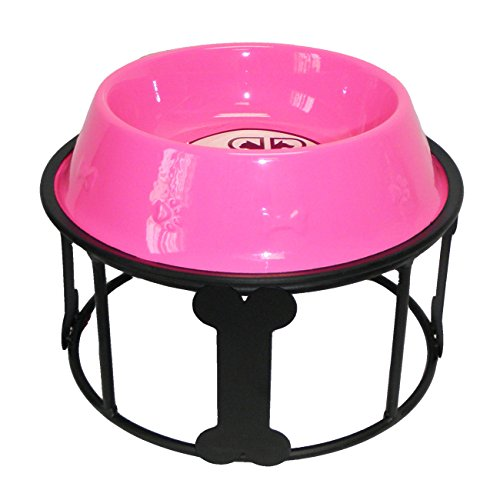 Platinum Pets 64-Ounce Single Bones and Stripes Diner Stand with Pink No-Tip Embossed Bowl