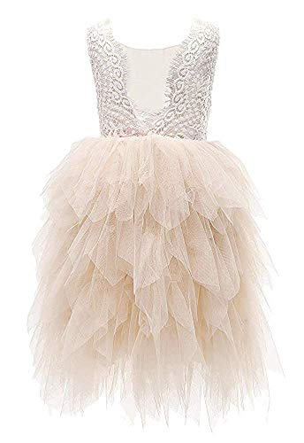 Topmaker Backless A-line Lace Back Flower Girl Dress (6Y, Sleeve-Ivory)