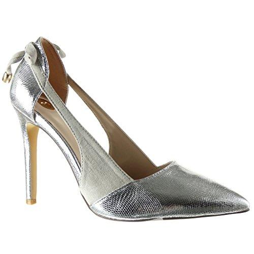Angkorly - Chaussure Mode Escarpin stiletto ouverte Decolleté femme peau de serpent brillant lanière Talon haut aiguille 10 CM - Argent