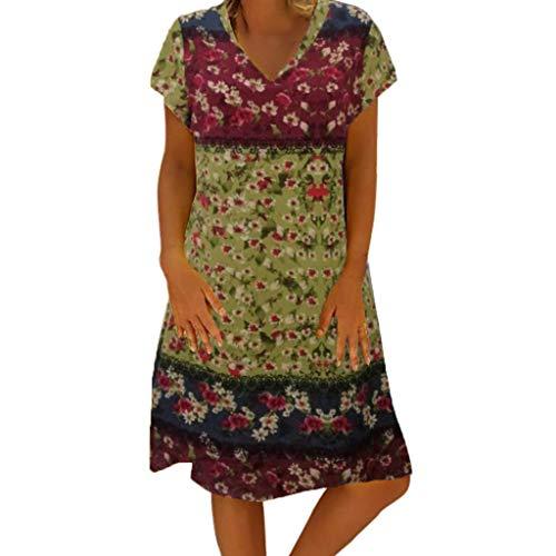 [해외]여성 캐주얼 V 넥 짧은 소매 프린트 여성 시프트 일상 미니 드레스 / Women Casual V Neck Short Sleeve Print Women Shift Daily Mini Dresses