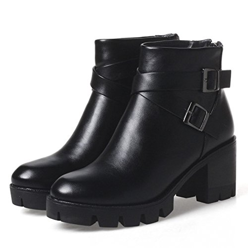 QZUnique Women Thick Platform Ankle Round Toe Chunky Heel Ankle Platform Booties Back Zip Up Martin Boot with Buckle B077VR3DPN Shoes c9894c
