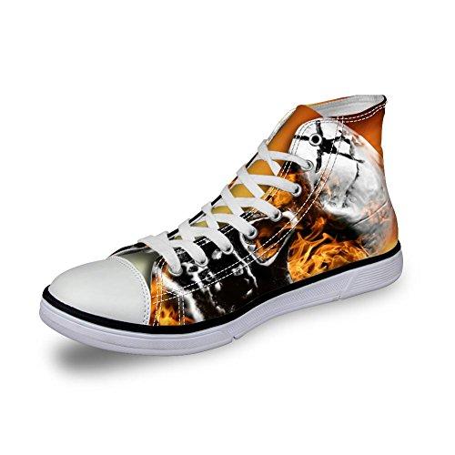 För U Designar Punk Skallen Män Tygskor Fotled Spets-up Gå Platta Sneakers Plus Size Skull-7