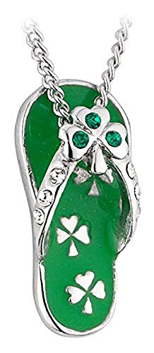 Shamrock Flip Flop Necklace Rhodium Plating, Enamel & Crystal ()