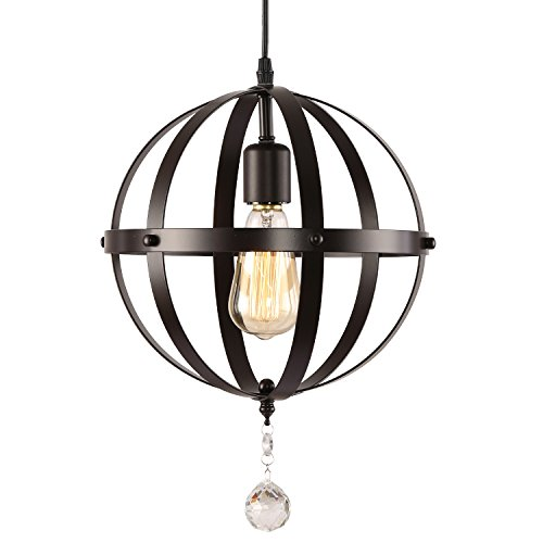 HMVPL Rustic Globe Pendant Lights, Oil Rubbed Bronze Finish Vintage Metal Orb Chandelier Ceiling Light Fixture