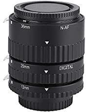Macro Extension Tube, Auto Focusing Lenses Adapter Rings Adjustable Portable 12mm,20mm,36mm Lens 3 Rings Set for Nikon F Mount DSLR Cameras(N-AF-B)