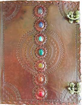 10 x 13 Chakra leather blank book w/ latch