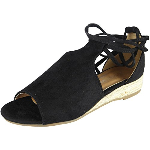 Womens Peeptoe Wedges Ladies Espadrilles Tie Up Comfy Low Heel Wegde Shoes Size 3-8 Black TaMhF3nnb