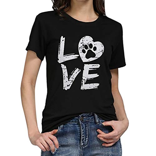 TWGONE Tshirts With Sayings For Women Plus Size Loose Short-Sleeved Love Letter T-Shirt Casual O-Neck Top(XXX-Large,Black-j)]()