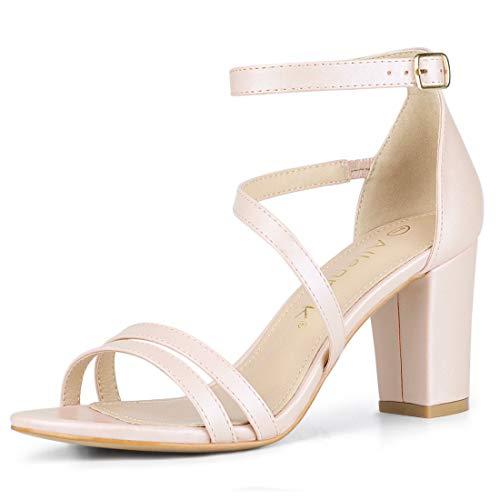 580cd4a742 Allegra K Women's Open Toe Ankle Strap Dress Block Heeled Sandals ...