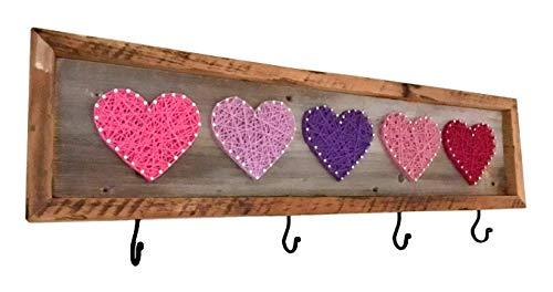Heart String Art coat hanger