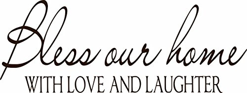 Bless Our Home With Love And Laughter - Home Welcome Vinyl Wall Sticker Decal For Home Decor - 20 inch x 6 inch by Design with Vinyl