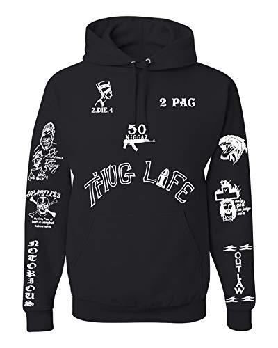 (All Eyez on Me 2PAC Tattoo Unisex Tattoo Hooded Sweatshirt (Limited Edition) 4XL Black)