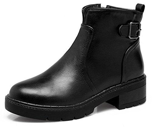 Idifu Kvinner Mote Rund Tå Midten Chunky Hæl Zippe Spenne Ankel Boots Black