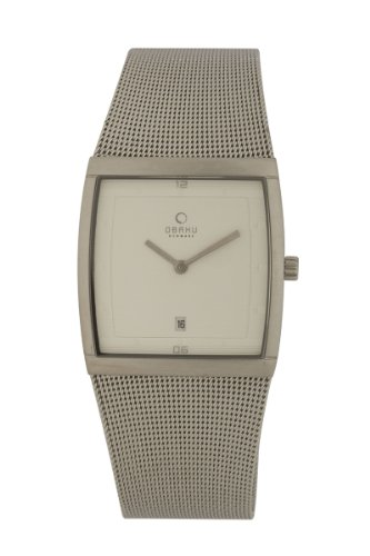 Obaku Men's V102GCCMC  34mm Ivory Dial Rectangular Stainless Steel Watch