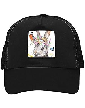 Unisex Rabbit Flowers Bird Adjustable Classic Hiphop Hat Baseball Cap Snapback Dad Hat