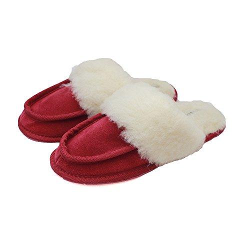 Eastern Counties Leather Womens/Ladies Pat Wool-Blend Slipper Mules Crimson x5HwPVN1tt