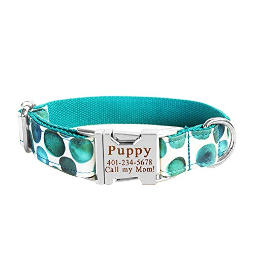 Smartyou Personalized Dog Collar, Engraved Metal Buckle Collar for Dog Name & Phone Number with Fully Adjustable Sizes XS/S/M/L/XL