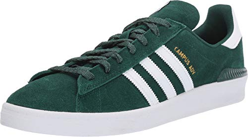 adidas Skateboarding Men's Campus ADV Collegiate Green/Footwear White/Gold Metallic 12 D US (Metallic Green Footwear)