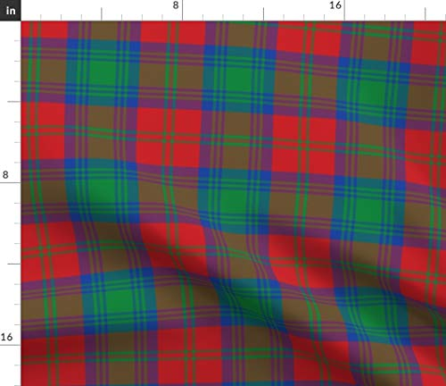 Spoonflower Lindsay Fabric - Tartan Plaid Scottish Lindsey Red Green Print on Fabric by The Yard - Chiffon for Sewing Fashion Apparel Dresses Home - Print Lindsey
