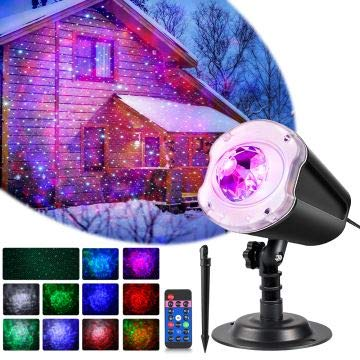 LYRABAY Christmas Outdoor Projector Laser Lights, Meteor Shower with Ocean Wave Light, Laser LED Light with Remote Control, Night Light Projector for Xmas, Party, Halloween Landscape Decoration (Projector Light Christmas Star)