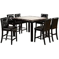 Furniture of America Taveren 7-Piece Faux Marble Counter Height Table Set, Black Finish