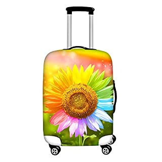 Coloranimal Travel Luggage Cover Fits 18-32 Inch Baggage 3D Colorful Sunflower Pattern Suitcase Protector XL
