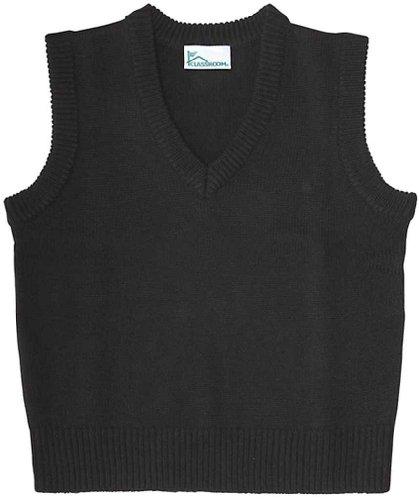 Black Sweater Vest - Classroom Men's Adult Unisex V-Neck Sweater Vest, Black, Medium