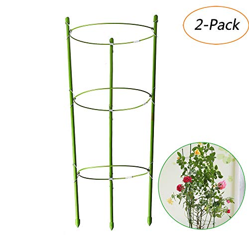 EFFT Life 2 Pack Plant Support Ring Garden Trellis Flower Iron Support Climbing Vegtables Fruit Grow Cage with 3 Adjustable Hoop 17.8'' by EFFT Life