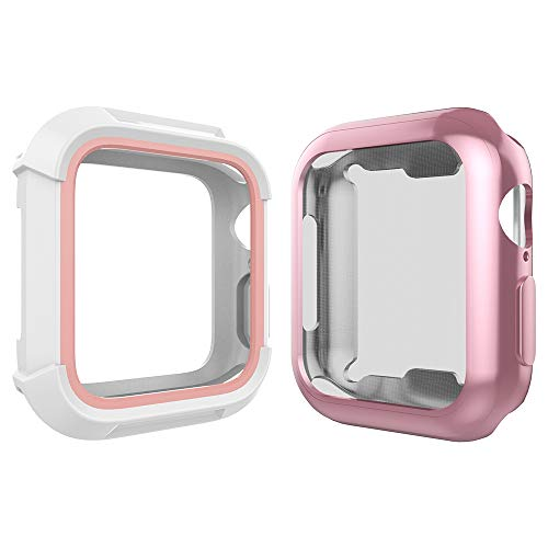 Bumper Screen - For Apple Watch 38mm Case, Toward Rugged Shock Proof Bumper Cover with Soft TPU Screen Protector Case for Apple Watch 38mm Series 3, Series 2, Series 1 (White Pink Case + Rose Gold Case)