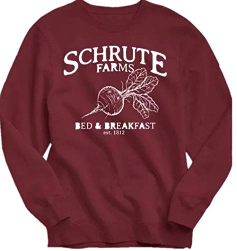 NENDFY Women's Schrute Farms Beets Funny Shirt Letters Graphic Casual Cute Tees Long Sleeve Tops Pullovers (X-Large, Red) -
