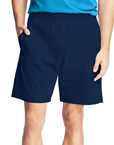 (Hanes Men's Jersey Short with Pockets, Navy 4X Large)