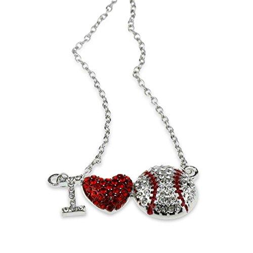 i love heart baseball pendant